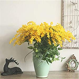 lliang Fake Flower 57cm Mimosa Flower Branch Tropical Palm Leaves False Yellow Stamen Silk Acacia Flower Fake Plant Decor Artificial Flowers