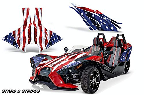 AMR Racing Roadster Graphics Trim kit Sticker Decal Compatible with Polaris Slingshot 2015-2019 - Stars and Stripes