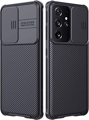 NILLKIN Funda Samsung Galaxy S21 Ultra, [Protección de la cámara] Estuche híbrido Parachoques Premium no voluminoso Delgado Funda rígida para PC para Samsung Galaxy S21 Ultra(6.8'') Negro