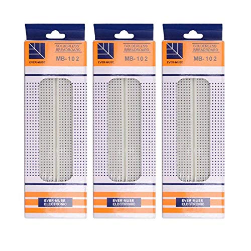 HiLetgo 3pcs MB-102 MB102 830 Ties Solderless Protype Breadboard Solderless BreadBoard 165×55×10mm for Circuit Connects Electronic Experiment