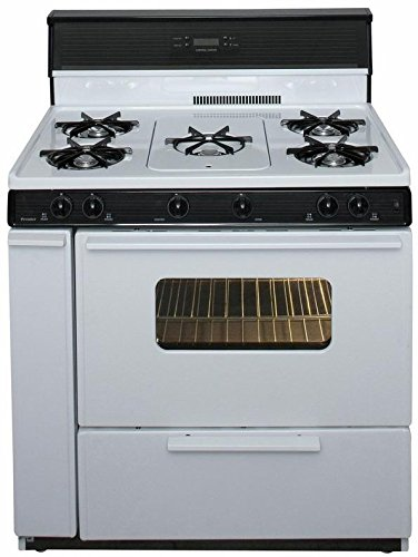 """Premier SLK249WP White 36"""" Three-Way Top Electronic Spark Gas Range with 3.9 Cu. Ft. Capacity Five Cooktop Burners 10"""" Tempered Black Glass with Clock/Timer and Windowed Oven Doo"""