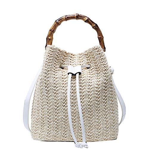 Gxklmg Frauen Schnür-Stroh-Wannen-Beutel-Handtasche Schultertasche Strandtasche mit Bambusgriff, Reisen Frauen-Beutel gesponnene Stroh Hobo Bag,Weiß