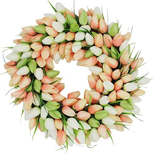 The Wreath Depot Coral Tulip Front Door Wreath, 19 Inches