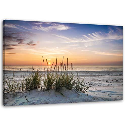 Feeby Frames Leinwandbild 60x80 cm Wand Bild Wanddekoration Kunstdruck Deko Landschaft Strand Wasser Meer Sand Sonnenuntergang