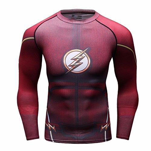 Cody Lundin Homme t-Shirt Compression Manches Longues Flash Héros Mouvement Fitness Sport Chemise (L, Rouge)