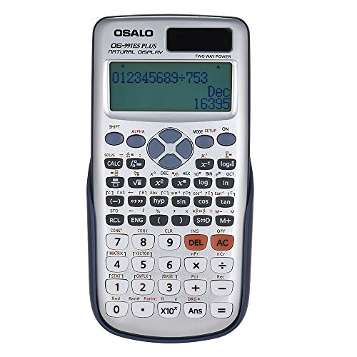 Walmeck OSALO OS-991ES Plus Engineering Scientific Calculator Dual Power Supply Calculadora with Button Battery 417 Functions for Scientific Calculator College Entrance Examination
