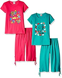 SINIMINI GIRLS COLOURFULL PLAIN CAPRI SET