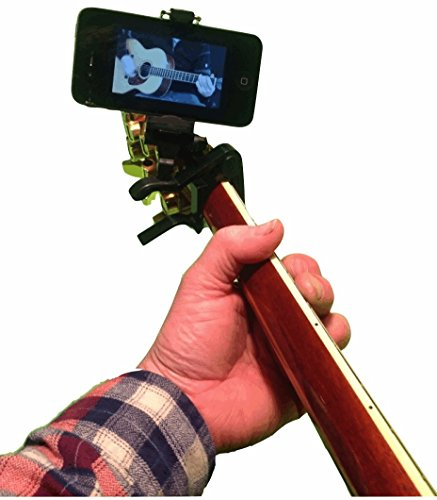 Smart-Po Smartphone Guitar Capo | Android and iPhone Compatible Dock Headstock Neck Clamp | Cell Phone Holder Aid Musicians | Electric or Acoustic Guitars