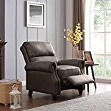 Domesis Cortez - Distressed Faux Leather Push Back Recliner Chair, Fog Grey