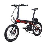 SKNIGHT E8 Bicicletta elettrica Pieghevole 20' Pollici Monopattino Elettrico Fibra di Carbonio 200W Samsung Batteria 36V/8.7Ah E-Bike Shimano Sora 9 Marce