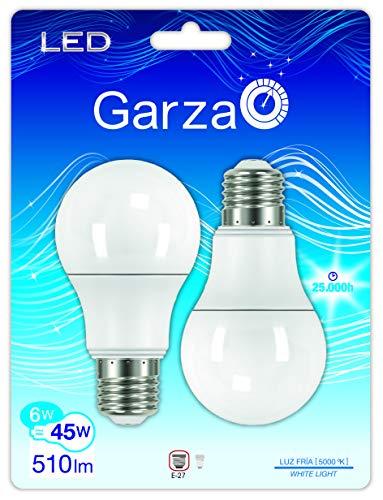 Garza Lighting - Pack ahorro de 2 bombillas LED estándar de 6 W de potencia, luz fría 5000 K