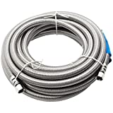 Supplying Demand 04-90220SS-LF Stainless Steel Braided Water Line For Refrigerator Freezer Ice Maker | 20' Length | 1/4' Connection | Compression Fitting With Built-in Seals