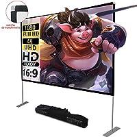 Pantalla de proyector con soporte100 Inch 16: 9 HD FáCil InstalacióN Y OperacióN Adecuado para Home Cinema Y Pantalla De ProyeccióN para Exteriores