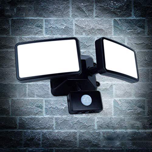 20W LED Strahler mit Bewegungsmelder einstellbar,LED Außenstrahler Dual-Kopf,IP65 Wasserdicht,1600lm,6000K Tageslichtweiß,Led Flutlicht Bewegungsmelder für Hof,Garten,Flur,Park,Garage und Eingang