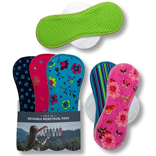 Waschbare Stoffbinden aus Baumwolle, 6er Pack (L+XL) Wiederverwendbare Damenbinden MADE IN EU, Reusable Sanitary Pads, wieder Bio Stoff Binden für Menstruation, Inkontinenz, starke postpartale Blutung