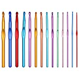 Crochet Hooks Set, 14 Sizes Multicolor Aluminum Handle Crochet Hooks for Crocheting, Crochet Needles for Crocheting,...