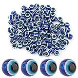 SAVITA 100 Cuentas De Mal De Ojo Azul Cuentas De Vidrio De Globo Ocular Abalorios De Resina Hechos a Mano Para Pulseras De Bricolaje Collar Fabricación De Joyas (10mm)