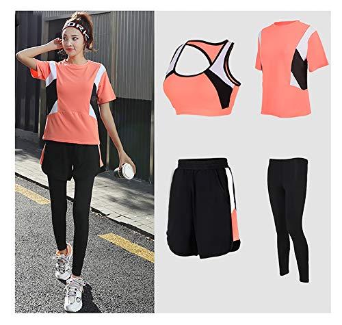 AFDLT Dames Fitness Yoga Kleding, Indoor Sport BH, Elastische Strepen Hoge taille Tight Leggings, Hardlopen T-Shirts 4 Stuks Set