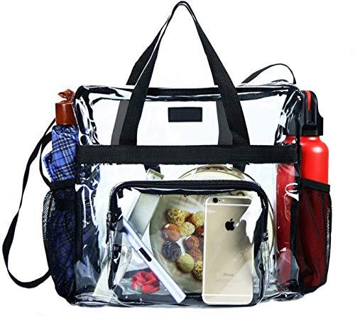 Bolsa transparente aprobada por el estadio, bolsa transparente y bolsa transparente para gimnasio, para trabajo, juegos deportivos y conciertos, 12 x 12 x 6 (negro)