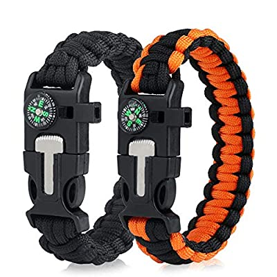 WEREWOLVES Survival Paracord Bracelets,Professional Personal EDC Tactical Bracelet,Multifunction Camping Hiking Gear with Compass, Fire Starter, Whistle and Emergency Knife (Black/Orange)
