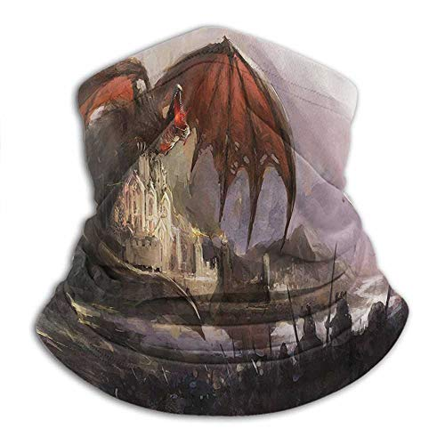 Face Bandanas Dragon Decor Collection Sun Protection Windproof, Fishing Running Cycling Medieval Fantasy Theme Dragon and Dark Knights in Battle Scene with Fortress Castle Grey Rustic Red
