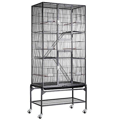 MegaBrand 32x18x69 in 3-Story Cockatiel Parrot Bird Cage Stand Black Vein