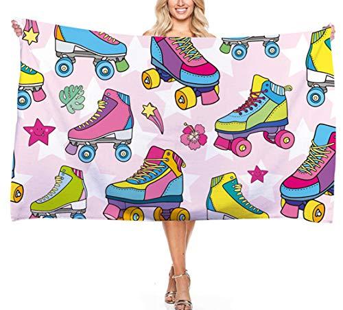 Toalla de Playa Zapatos de Skate Serie de Deportes de Monopatín de Dinosaurio, Patrón de Dibujos Animados para Niños Microfibra Toalla de Baño Surf Natación Viajes (Color 5, 150 * 180 cm)