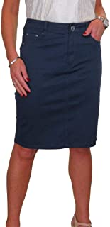 icecoolfashion Stretch Chino Sheen Jeans Style Pencil Skirt 6-18