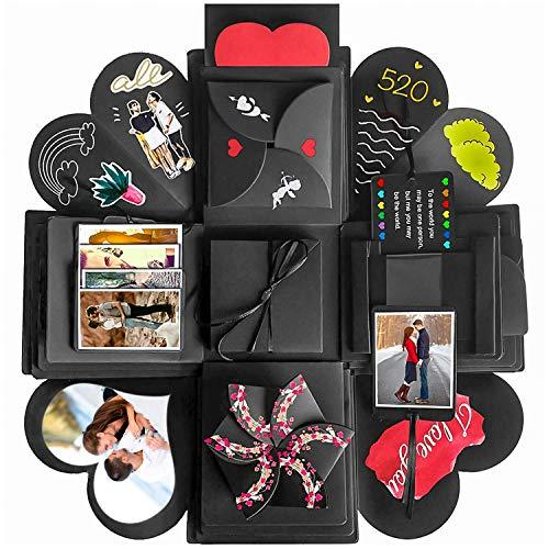 kytuwy Kreative Überraschung Box - Explosion Box, DIY Geschenk Scrapbook und Foto-Album für Weihnachten/Valentinstag/Jahrestag/Geburtstag/Hochzeit (Schwarz)