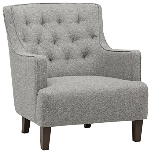 """Amazon Brand – Stone & Beam Decatur Modern Tufted Wingback Living Room Accent Chair, 32.3""""W, Silver"""