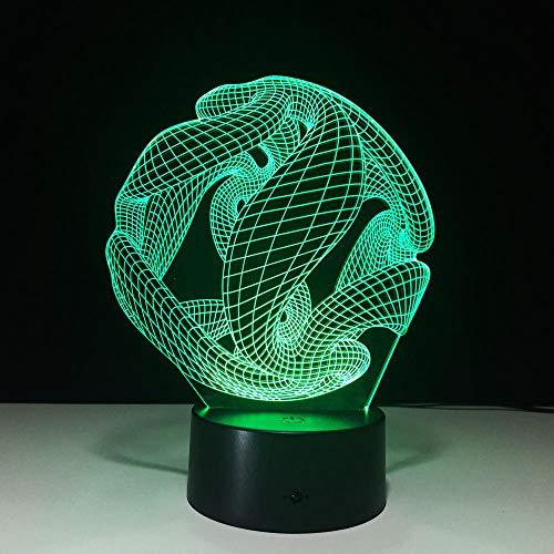 Lámpara 3D abstracta de 10 estilos, 7 cambios de color LED, luz nocturna 3d, interruptor táctil, lámpara de lava para el hogar, regalo creativo