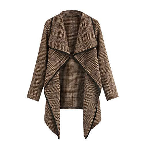 GreatestPAK Große Größe Damen Anzug Karo Unregelmäßige Strickjacke Jacke Oberteil Plaid Open Front Langarm Mantel Parka Outwear Tops