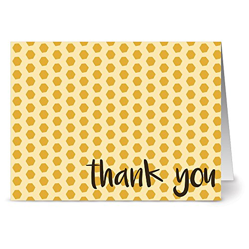 Note Card Cafe Thank You Cards with Envelopes   24 Pack   Blank Inside, Glossy Finish   Honey Comb Design   Set for Greeting Cards, Occasions, Birthdays, Gifts
