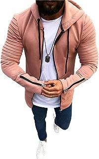 lexiart Mens Fashion Zipper Hooded Sweatshirt - Athletic Pleated Jacket Warm Up Coat