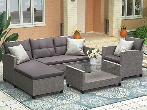 LZ LEISURE ZONE Patio Furniture Set Outdoor Sectional Sofa Set All-Weather PE Rattan Wicker Lawn Conversation Sets 4 Pieces Patio Sofa Set with Cushion & Table (Grey Cushion)