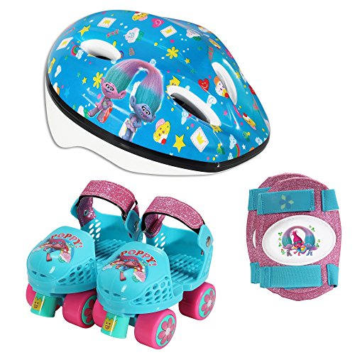 Playwheels Trolls Roller Skates with Knee Pads and Helmet, Junior Size 6-12
