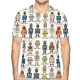 Mens T-Shirt,Various Different Super Robot Figures Set In Cartoon Style Fantasy Futuristic Machine XXL