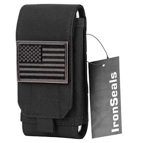 IronSeals Tactical Molle Cover Case, Large Heavy Duty Loop Belt Pouch Cellphone Holster with Flag Patch for iPhone 11ProMax/XsMax/XR/X/8P/7P/6P, Samsung S20/S10/S10e/S9+/S9/S8+, Note10/9/8