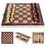 Ajedrez de Madera 3 en 1,Juego de Ajedrez Madera,Ajedrez y Damas,Tablero de ajedrez portátil para Viajes, Juego de Mesa, Juguetes educativos para Adultos y niños