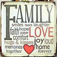 看板 ブリキ ビンテージ風 FAMILY & LOVE ハート