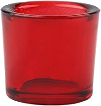 Bluecorn Beeswax Heavy Glass Votive and Tea Light Candle Holders (1, Red)
