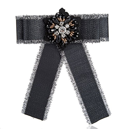 Youkara Fliege Strass Ribbon baumeln Bowknot Broschen College Preppy Style vorgebundene Fliege Krawatten für Frauen & Mädchen