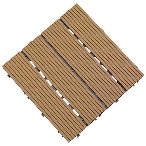 Pack of 9 Wooden Floor Tiles for Outdoor Decking Patio Anti Slip