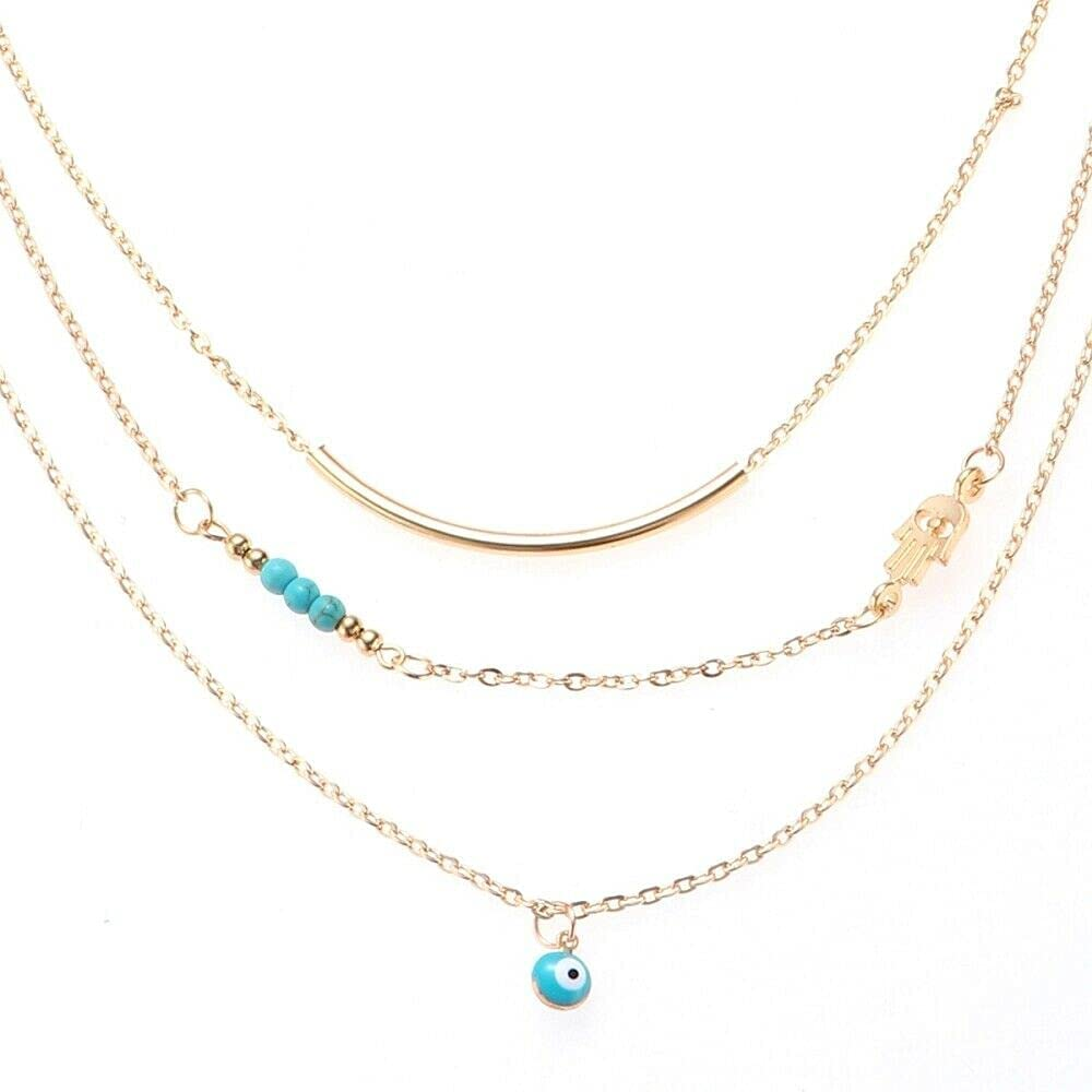 Women Necklace Bar Lariat Beads Multilayer Tassels Pendants Necklace