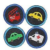 Bügelbilder Auto Feuerwehr Krankenwagen 4 Flicken ø 5 cm Aufbügler kleine Bügelflicken rund Bio Jeansflicken Patches Hosenflicken zum aufbügeln