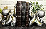 """Ebros Nautical Coastal Sea Monster Octopus Bookends Set Statue in Faded Bronze Antique Finish 6.25"""" H Mythical Sea Giant Cthulhu Kraken Decorative Office Study-Room Library Desktop Decor Figurines"""