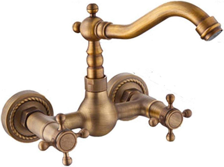 JFFFFWI In-Wand-Hahn-Kupfer-Schwenker-heier und kalter doppelter Loch-Badezimmer-Retro- Badezimmer-ffnung 32mm bis 35mm kann Liuyu angebracht Werden.