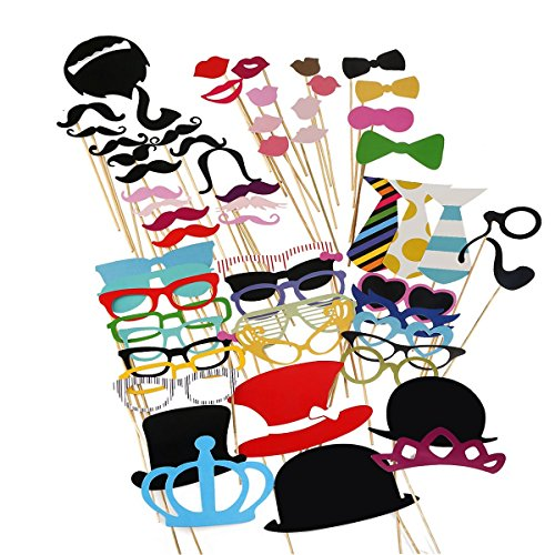 Tinksky Photo Booth Props 60 piece DIY Kit for Wedding Party Reunions Birthdays Photobooth Dress-up Accessories & Party Favors  Costumes with Mustache on a stick  Hats  Glasses  Mouth  Bowler  Bowties