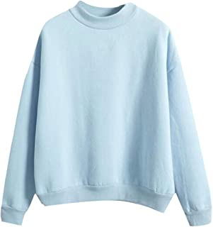Women's Long Sleeve Thicken Solid Color Crewneck Sweatshirt