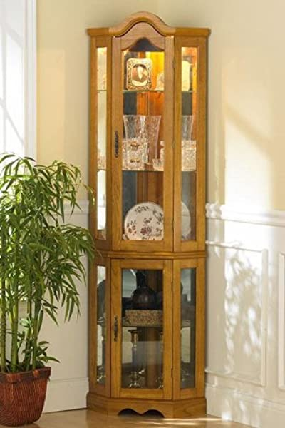 Lighted Corner Curio Cabinet Golden Oak Wood Finish Three Tier Adjustable Shelves